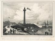 De vuurtoren van Oostende in 1830, lithografie van Jean-Baptiste Jobard