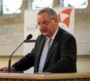 10 mei 2014, academische zitting t.g.v. 175 jaar Genootschap voor Geschiedenis: prof. dr. Marc Boone (UGent) tijdens zijn laudatio